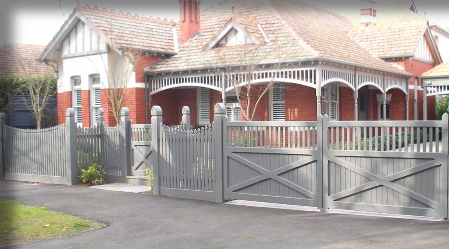 Fence includes a Concave Configuration, Recess Gate with 2-Way Steeple No. 6 Posts with custom made Gates