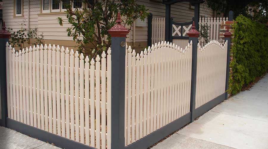 Special Convex picket design based upon historical photographs. Also feature decorative Hardwood Feature Gate and entry arbour to side of property.